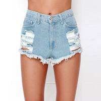 Denim Cut Out Shorts