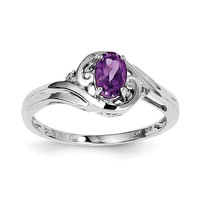Sterling Silver Diamond & Oval Amethyst Ring