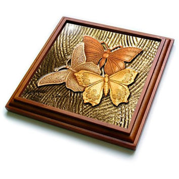 "3dRose trv_128812_1 Gold Embossed Background with Accents and Three Beautiful Butterflies Trivet with Ceramic Tile, 8 by 8"", Brown"