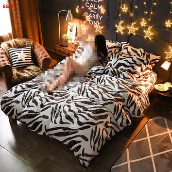 Home textile Winter fleece bedding set zebra leopard printed king queen flannel duvet cover soft warm bedding bed sheet feather