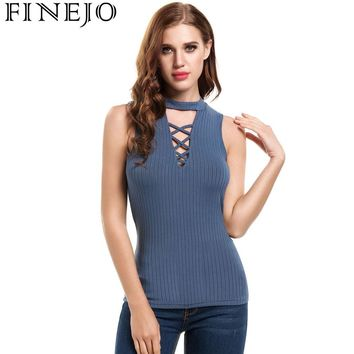 FINEJO Ladies Summer Vest Top Lace Up Knitted Tank Tops Women Casual Sleeveless O Neck Slim Plain Solid Slim Fitness Crop Tank