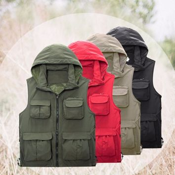 Men's Fishing Vest Outdoor chaleco Mesh Fly Fishing Vest Photography Vest with Detachable Hood Waistcoat