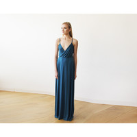 Teal blue strap maxi wrap dress with slit 1060