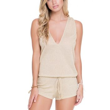Luli Fama T-Back Romper - Gold Rush
