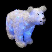 "24"" Battery Operated LED Lighted Tinsel Polar Bear Christmas Decoration"