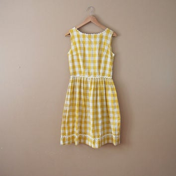 50s Yellow Gingham Dress - 50s Dress Small 50s Day Dress 50s Summer Dress 50s Fit Flare Dress 50s Sundress 50s Plaid Dress Cotton Dress