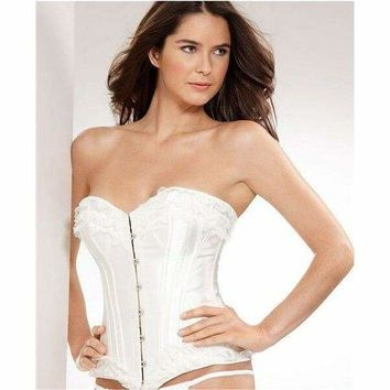 Jezebel Bridal Corset with Lace 34962 White Polyester  Spandex Medium