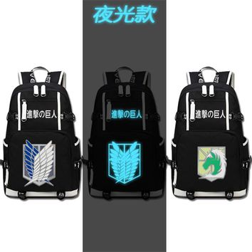 Cool Attack on Titan New Anime  School Backpack Cosplay Scout Legion Shoulder Laptop Bags Fashion Rucksack Travel Bag High Quality AT_90_11