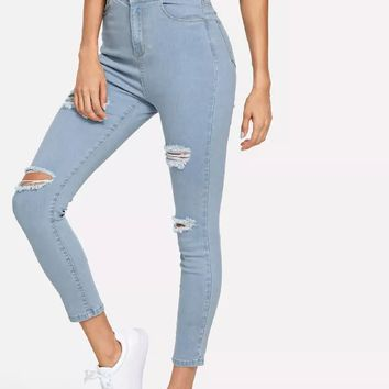 Rips Detail Crop Jeans