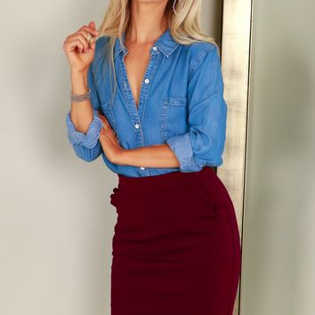 Ruffle Pencil Skirt Burgundy