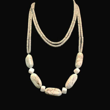 Natural Stone And Puka Bead Necklace, Long Stone Necklace, Boho Jewelry