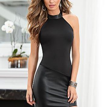 Black (BK) Faux Leather Skirt Dress