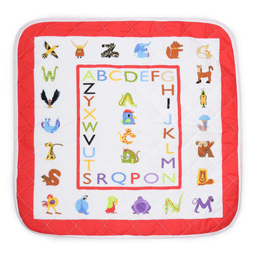 Baby Playmat/Blanket. Quilted Crib Buddy Red & Multi Alphabet Border