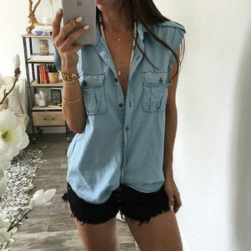 Retro Fashion Women Casual Blouse  Jean Denim Sleeveless Shirt Tops