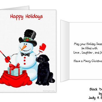 Black Lab Christmas Card - Snowman Christmas Card - Labrador Holiday Card - Dog Holiday Card 2 - Black Lab Holiday card - Christmas In July