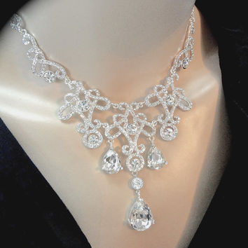 Crystal rhinestone bib necklace - Clear crystals - Bridal jewelry - Statement necklace - Pageant jewelry - Brides necklace ~