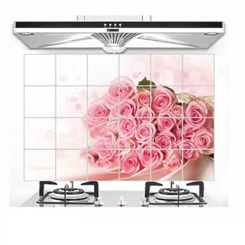 Wall Sticker Cuisine Poster 3D Wall Stickers Kitchen Wallpaper Decorative DIY Home Decor Tulip Flower Rose Wall Decals Mural
