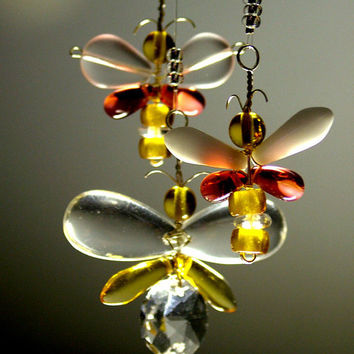 Butterfly Mobile Crystal Suncatcher Butterfly Ornament Butterfly Hanging Mobile Wedding Decor Yellow Red Australia Glass Mobile Window Decor