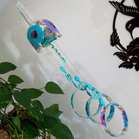 Large Vodka bottle wind chime, Yard art, Patio decor, Recycled vodka bottle, Turquoise and Pink flowers,  Clear glass, Wind chime, Gift Idea
