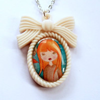 Redhead Girl Necklace  Kawaii Cream Cameo by KitschBitchJewellery