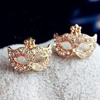 New fashion women's jewelry Women Lady's sexy ear stud Bohemia Mask Elegant Crystal Ear Stud Earrings eye mask earrings (Color: Silver) = 1958493892