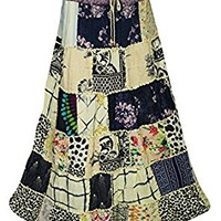 Mogul Interior Womens Maxi Skirts Flowy Vintage Vacation Fiesta Ethnic Printed Patchwork Long Skirts