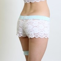 FOXERS - Tiffany Blue White Lace Boxers Short