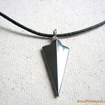 Arrowhead Necklace - Hematite Arrow Jewelry, Hematite Mens Necklace, Black Leather Cord Steel Grey Pendant Arrow Head