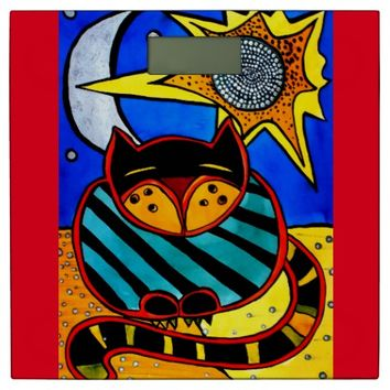 Colorful Striped Cat with Sun and Moon and Stars Bathroom Scale