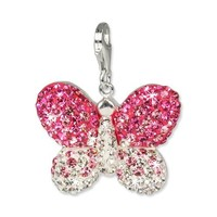 SilberDream Glitter Charm Swarowski Elements butterfly pink ICE, 925 Sterling Silver Charms Pendant