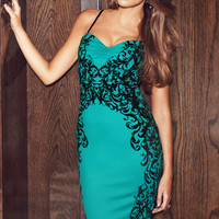 Turquoise Sweetheart Neckline Flocked Midi Dress #CL83940