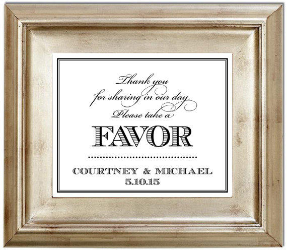 8x10 Please Take A Favor Wedding Sign From Serenitynowstudio On