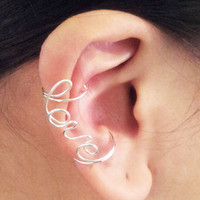 Ear Cuff Silver Love Double Cuff Earcuff Ear Wrap Cartilage