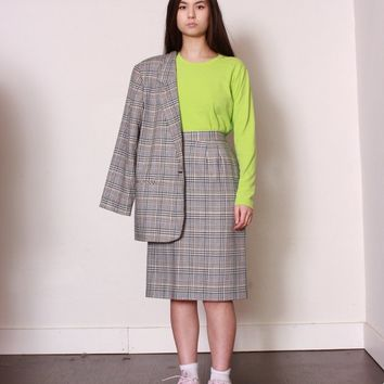 Houndstooth Plaid Skirt Suit / XL