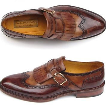 Paul Parkman (FREE Shipping) Men's Wingtip Monkstrap Brogues Brown Hand-Painted Leather Upper With Double Leather Sole (ID#060-BRW)
