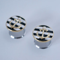 "Black White and Gold Nautical Anchor Plugs Gauges 0g, 00g, 000g, 1/2"", 9/16"", 5/8"""
