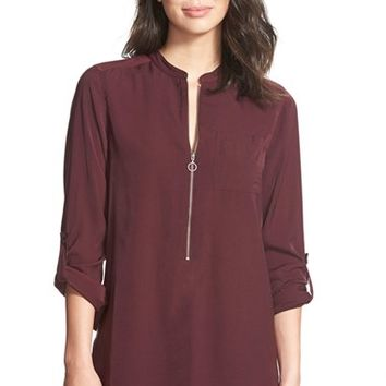 Women's Halogen Zip Front Blouse,