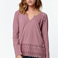 Element Psychic Long Sleeve Peasant Top - Womens Tee - Pink