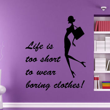 Wall Decal Vinyl Decal Quote Words Life Is Too Short... Girl Beauty Salon People Home Vinyl Decal Sticker Kids Nursery Baby Room Decor kk185