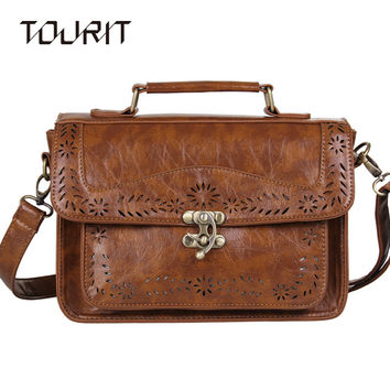 TOURIT 2017 New Women's Brown Vintage Leather Briefcase Luxury Women Document Briefcase Durable Executive Briefcase Postman Bag