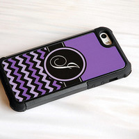 Purple + Lavender + Black Chevron Initial Monogram Hybrid Phone Case