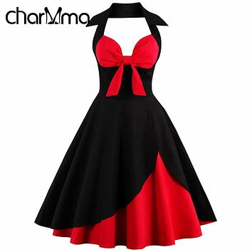 CharMma 4XL Plus Big Size Women Red Bow Vintage Black Wrap Dress Audrey hepburn 50s Sexy Evening Party Dresses Retro Sleeveless