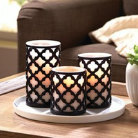 Better Homes and Gardens Flameless LED Pillar Candles 3-Pack Trellis - Walmart.com
