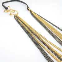 Black leather with black and gold plated chains - multi strand necklace