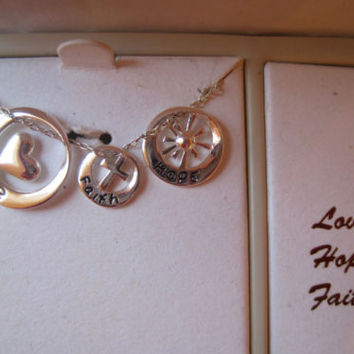 Inspirational~Sterling Silver~Love Heart Faith Hope~Box Pendant Necklace~$100
