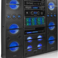Technical Pro RKSYS3500 1 SYS3500, 1 MP36, & 2 MP310 Professional 3500 Watt Bluetooth Rack System Black
