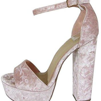 Delicious Womens Floral Embroidered Ankle Strappy Chunky Heel Platform Sandal