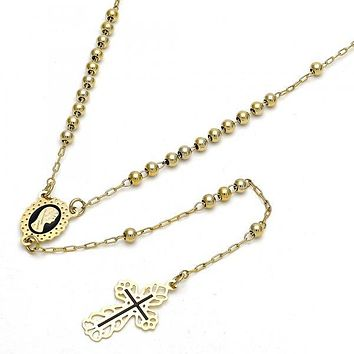 Gold Layered 09.118.0009.18 Thin Rosary, Guadalupe and Cross Design, Black Enamel Finish, Gold Tone