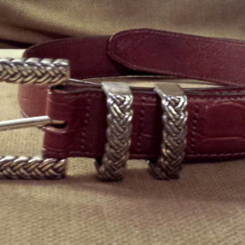 Vintage Brighton Belt, Brown Leather Belt, Congac Leather, Braided Silver Buckle, Western Wear, Western Belt