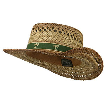 Gambler Straw Hat with Palm Tree Band - Natural OSFM